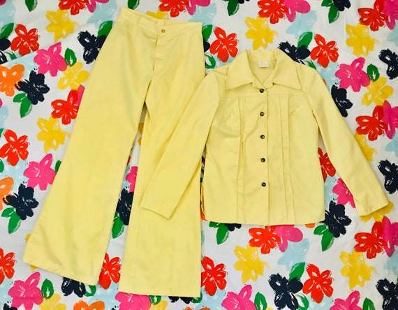 Vintage 1970's banana yellow two piece jacket and