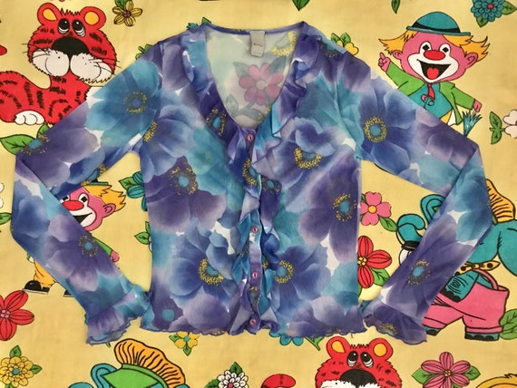 Vintage 90's Y2K lilac & blue flower power floral… - image 1