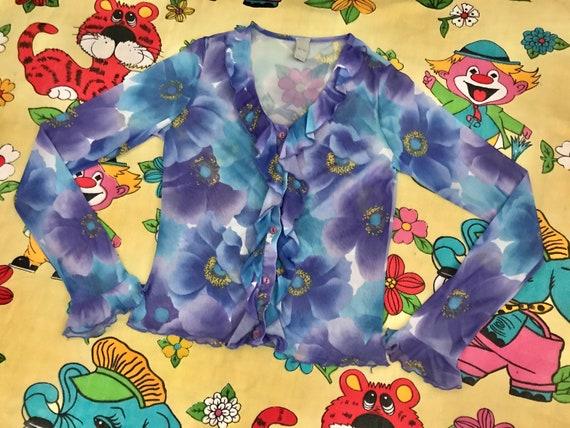 Vintage 90's Y2K lilac & blue flower power floral… - image 2