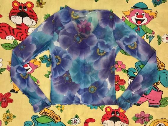 Vintage 90's Y2K lilac & blue flower power floral… - image 5