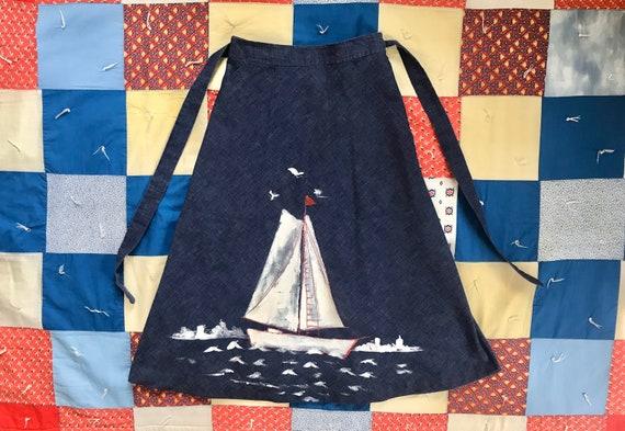 Vintage 1970's dark denim chambray wrap skirt larg