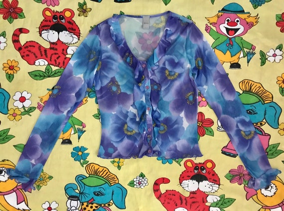 Vintage 90's Y2K lilac & blue flower power floral… - image 3