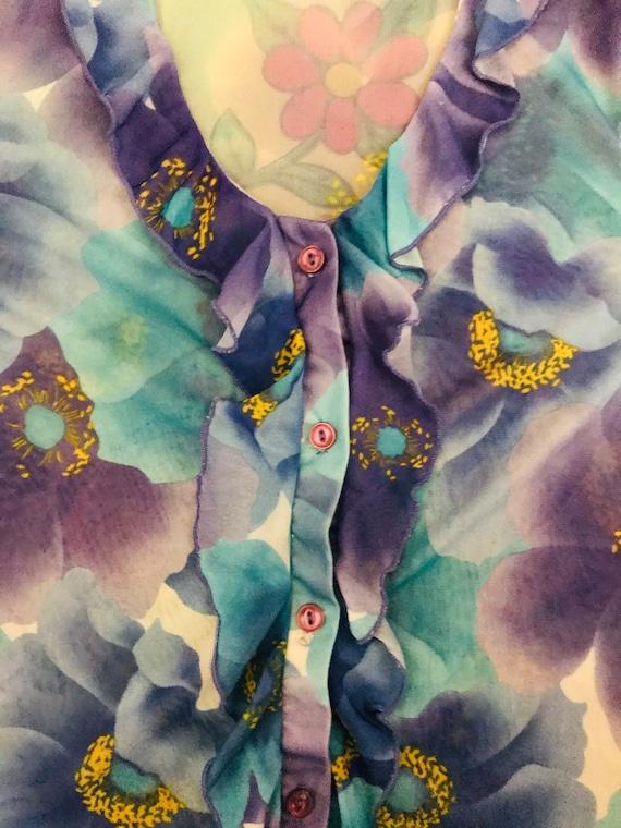 Vintage 90's Y2K lilac & blue flower power floral… - image 4