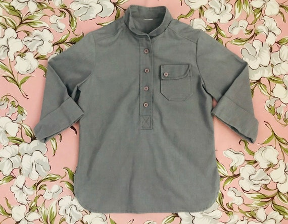 Vintage grey pop-over tunic / work shirt. Cotton.