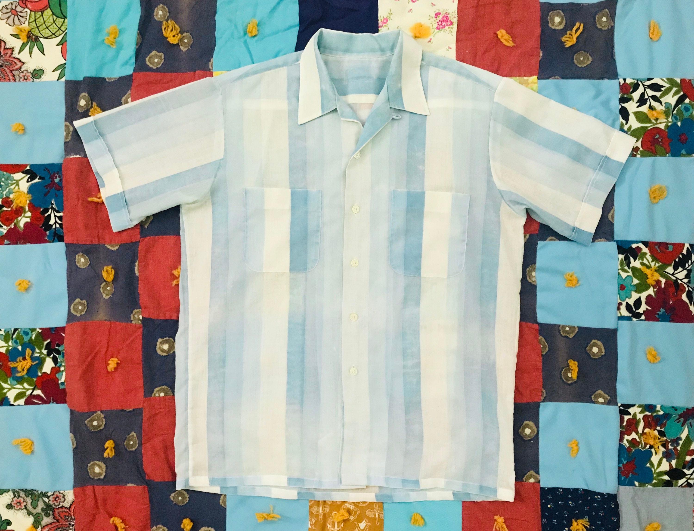 1950s Mens Hats | 50s Vintage Men's Hats Vintage Mens Faded Blue Vertical Stripe Shirt. Button Front With Short Sleeves. Mens L $16.50 AT vintagedancer.com