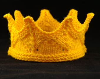 Knit Crown Gold Yellow princess or king crown for kids and adults f19b4a2c4b4