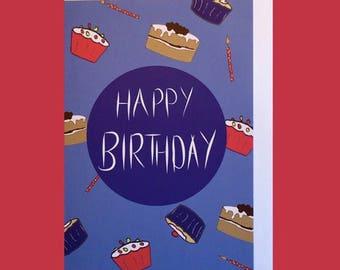 Happy Birthday Card - Cupcakes, Birthday Cake