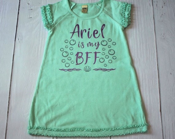 Ariel Is My BFF Girl's Dress / Disney Dress for Girls / Disney Shirt / Little Mermaid /Disney Princess/Disney Gift Under 30/ Mermaid / Ariel