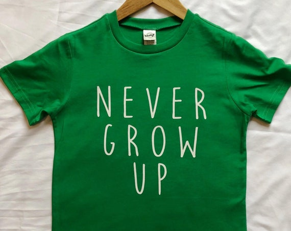 Never Grow Up Kids Shirt / Disney Shirt / Disney Youth Shirt / Disney Kids Shirt / Peter Pan / Neverland / Disney Gift / Gift Under 20