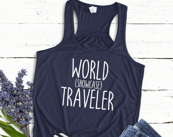 World Showcase Traveler Flowy Tank Top / Epcot / Disney World / Women's Shirt / Vacation / Drink Around the World / Matching Shirt / Racer