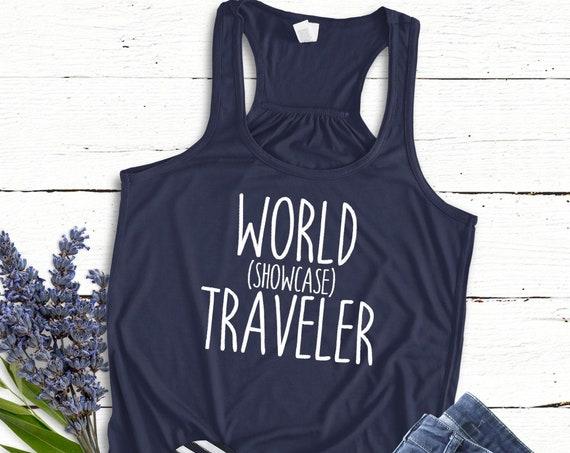 World Showcase Traveler Flowy Tank Top / Epcot / Disney World / Women's Shirt / Vacation / Drink Around the World / Matching Shirt / Racer