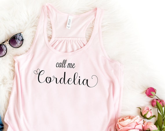 Call Me Cordelia / Ladies Flowy Racerback Tank / Anne of Green Gables / Literature / Feminine / Red Head / Teen / Book Quote / Carrots