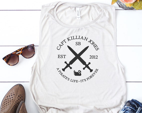 "Captain Killian ""Hook"" Jones Ladies Muscle Tank / Captain Hook / Once Upon A Time / Pirate Night / Disney Shirt / Disney Gift Under 30"