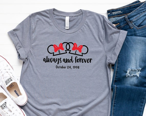 Always and Forever Mouse Ears Shirt / Mickey and Minnie / Disney Shirt / Disney Couple / Honeymoon / Anniversary /Wedding / Pride / Love
