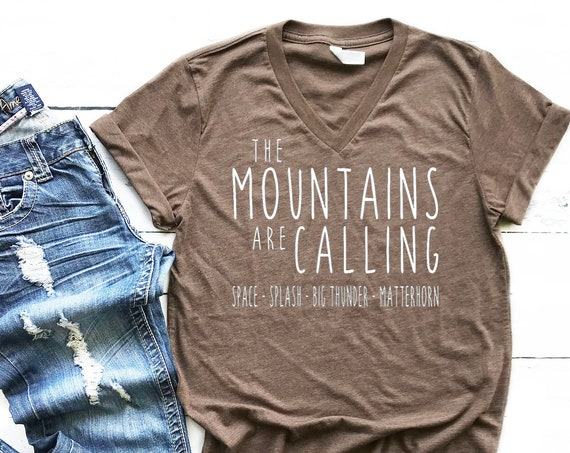 The Disneyland Mountains Are Calling V-Neck Shirt / Space / Splash / Big Thunder / Matterhorn / Vacation / Gift Under 30 / Unisex / Disney