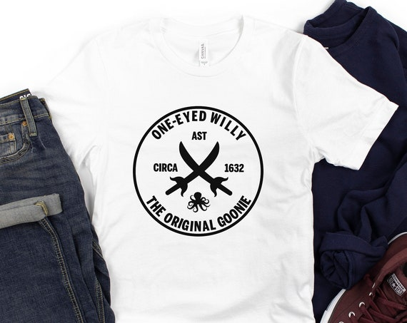One-Eyed Willy Pirate Logo Shirt / The Goonies / Movie / Gift / Astoria Oregon / Willie / Brand / 1980's / Chunk / Sloth / Mikey / Quote
