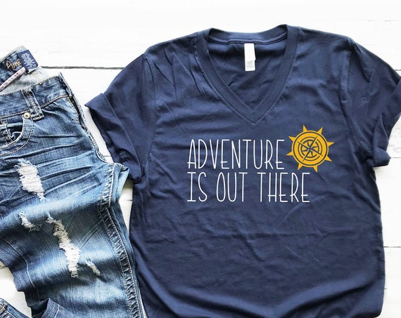 Adventure Is Out There V-Neck Shirt / Disney Shirt / Up / Pixar / Wilderness Explorer / Outdoor/ Animal Kingdom / Carl Ellie /Compass/Travel