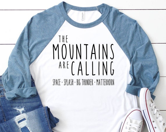 The Disneyland Mountains Are Calling 3/4 Sleeve Raglan / Space / Splash / Big Thunder / Matterhorn / Disney Vacation / Matching Shirt