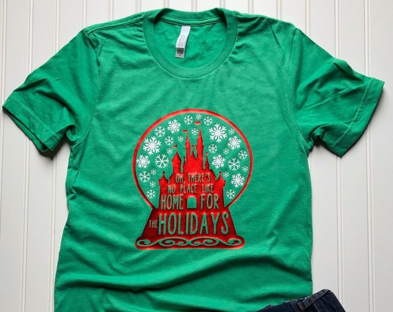 Oh There's No Place Like Home For The Holidays Adult Size T-Shirt - Disney Castle Snowglobe
