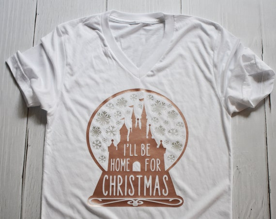 I'll Be Home For Christmas V-Neck Shirt / Disney / Snow Globe / Home For Holidays / Castle / Snow Globe / Snowflake / DVC / Christmas Party