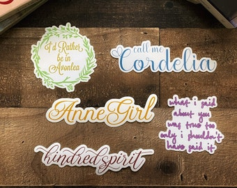 Ultimate Anne of Green Gables Vinyl Sticker Set of Five Pieces / Anne with an E