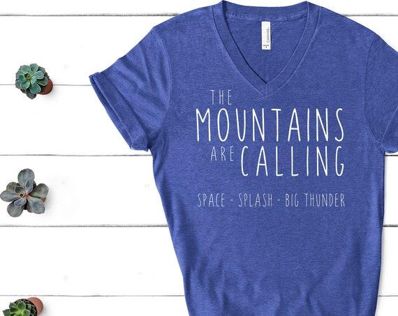 The Disney Mountains Are Calling V-Neck Shirt / Disney Shirt Women Men/ Splash Mountain / Space Mountain / Big Thunder / Gift Under 30