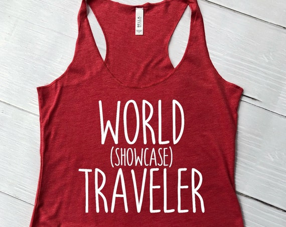World Showcase Traveler Ladies Tank Top / Epcot / Disney World / Women's Shirt / Vacation / Drink Around the World / Matching Shirt / Racer