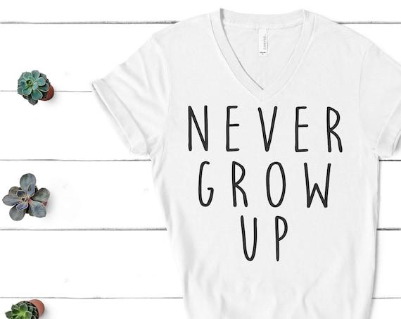 Never Grow Up V-Neck Shirt / Neverland / Peter Pan / Captain Hook / Men Women / Unisex / Disney Vacation / Matching / Don't Grow Up / Gift
