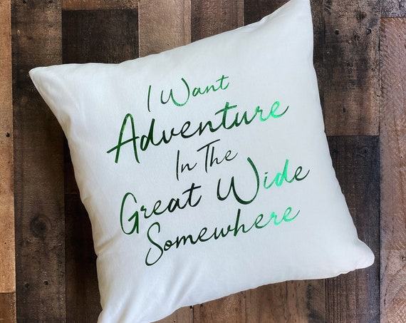 I Want Adventure Throw Pillow Cover / Pillowcase / Sham / Gift / Belle / Beauty and the Beast / Disney Song / Home Decor/Living Room/Bedroom
