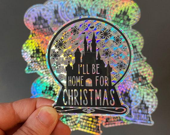 I'll Be Home For Christmas Prismatic Vinyl Sticker  / Disney Christmas Sticker