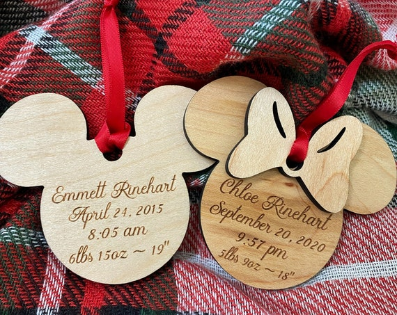 Birth Record Personalized Keepsake Christmas Ornament - Mickey Mouse - Minnie Mouse - Disney Christmas Ornament