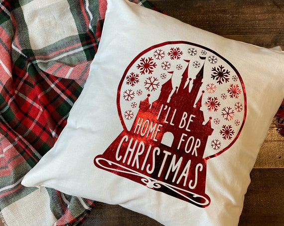 I'll Be Home For Christmas Throw Pillow Cover / Pillowcase / Pillow Sham / Christmas Decoration / Christmas Home Decor / Disney Home Decor