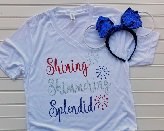 Shining Shimmering Splendid - Fireworks - Fourth of July - Red White Blue - Patriotic - Glitter - Aladdin - Jasmine - Disney Vacation - Gift