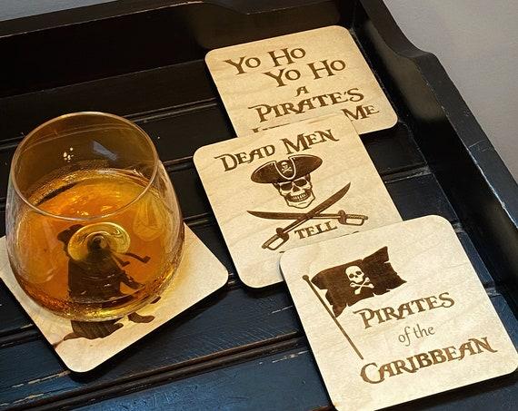 Pirates of the Caribbean Wooden Coasters - Disney Home Decor - Jack Sparrow - POTC - Housewarming Gift -  Drinkware - Barware