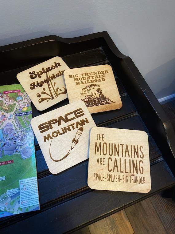 Disney Mountains Wooden Coasters - Disney Home Decor - Big Thunder - Space - Splash - Mountains are Calling - Drinkware - Barware - Gift