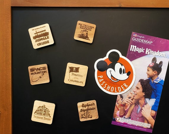 Disney Attraction Wooden Magnets - Disney Home Decor - Create Your Own Set