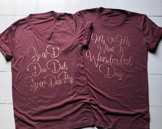 Zip A Dee Doo Dah - My Oh My What A Wonderful Day Combo Shirt Set / Disney Couple / Matching Shirts / Splash Mountain / Disney Vacation