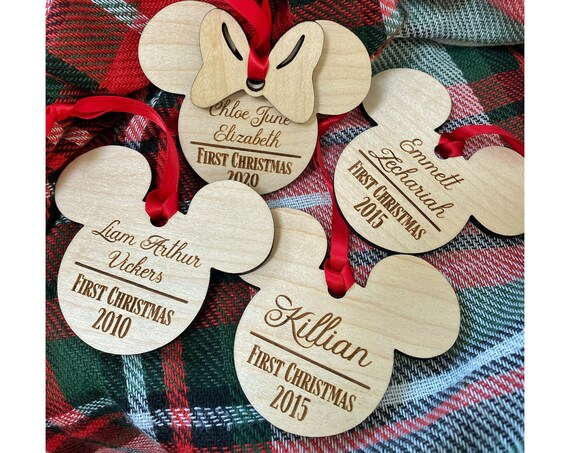 Baby's First Christmas Personalized Wooden Ornament - Mickey Mouse - Minnie Mouse - Disney Christmas Ornament