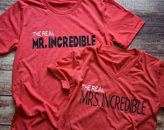 The Real Mr. and Mrs. Incredible Combo / Disney Shirt / Disney Couples Shirt / The Incredibles / Mr Incredible /Pixar /Disney Mom/Disney Dad