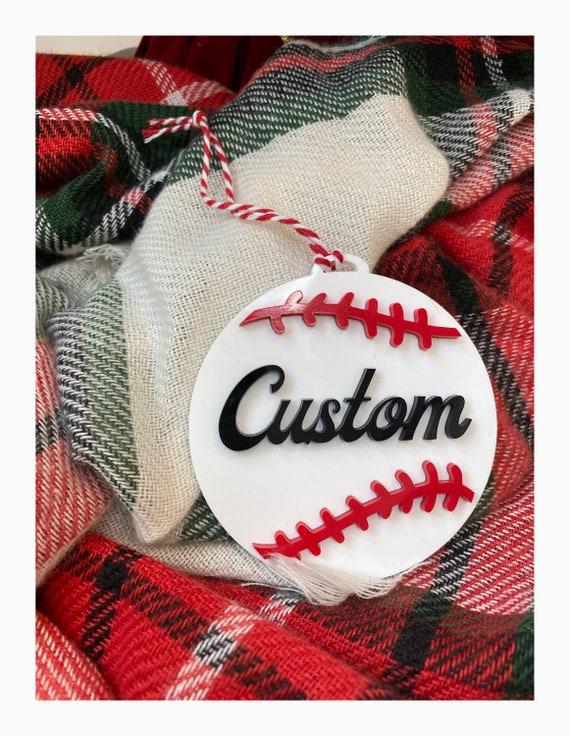 Custom Name Acrylic Baseball Christmas Ornament