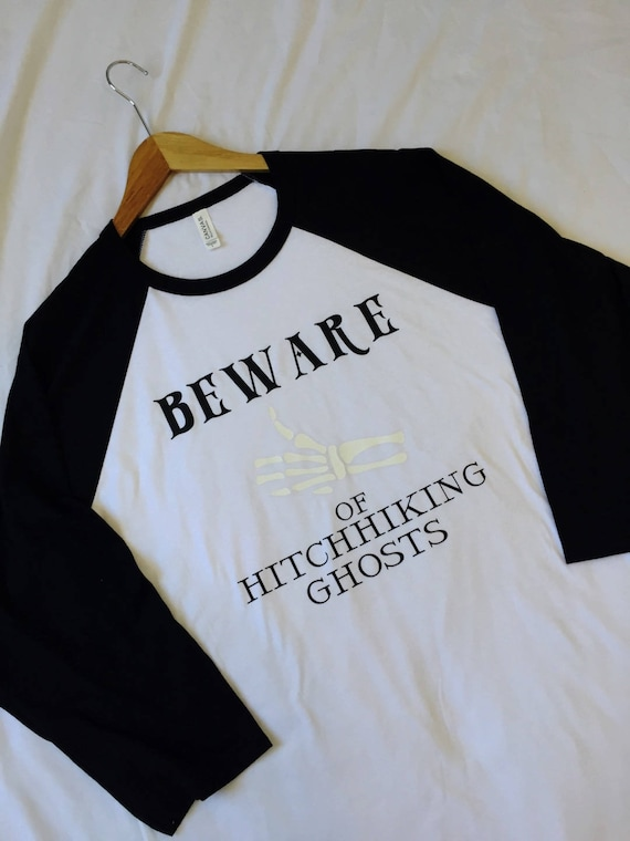 Beware of Hitchhiking Ghosts 3/4 Sleeve Raglan / Disney Shirt / Haunted Mansion / Men Women Disney Shirt/Disney Gift/Gift Under 30/Halloween