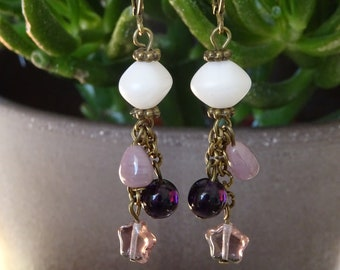 Purple cluster beads EARRINGS