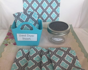 "Dryer Sheet, 6 Ct, Reusable,  7"" x  8.5"", Pre-Moistened, in Jar, with Tub"