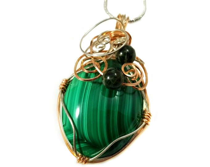 Rose Gold and Sterling Malachite Pendant/Green Tourmaline and Malachite Pendant/ Healing Crystals