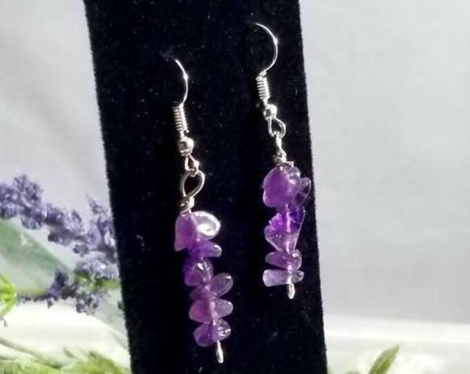 Amethyst Crystal Sterling Earrings/ Calming Crystals