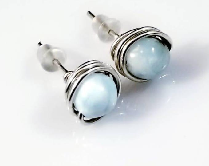 Sterling Dominican Larimar Stud Center Earrings/ Atlantis Stone/ Nature Jewelry