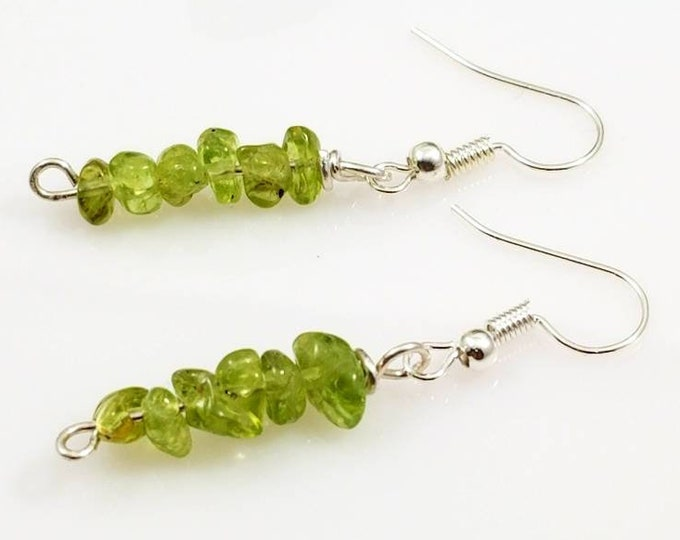 Peridot Crystal Earrings/ Faceted or Chip Design/Intuition Crystals