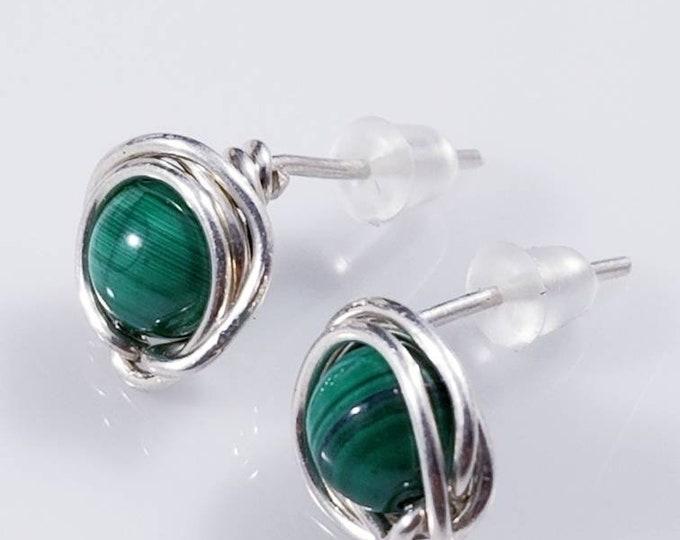 Green Malachite Sterling Stud Earrings/ Sterling Silver Studs