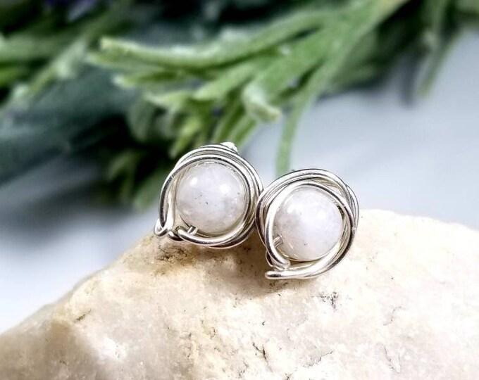 Moonstone Sterling Stud Earrings/ Reiki Infused Jewelry