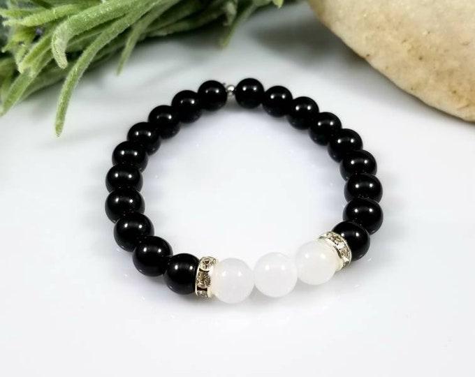 Black Tourmaline & Selenite Protection Bracelet/ Inner Peace Focused Crystals